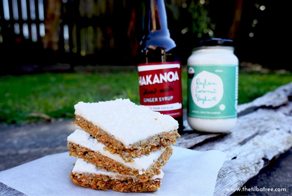 Raw Carrot & Ginger Syrup Slice - Hakanoa