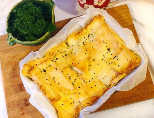 Tofu & spinach filo pie (v, df, rsf)