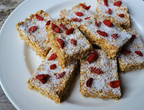 'No bake' peanut butter and berry bars (v, df, gf, rsf)