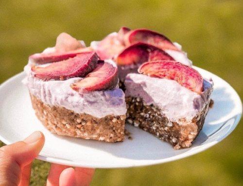 Blackcurrant and Peach Cake (v, df, gf, rsf)
