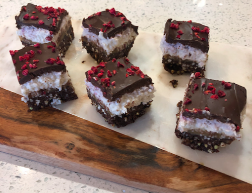 Raspberry and Coconut Raw Bounty Slice (v, gf, df, rsf)