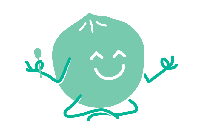 Illustration of a smiling coconut doing yoga